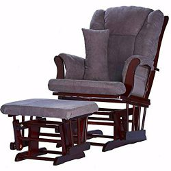 Glider Ottoman Set Grey Microfiber Upholstery Espresso Wooden Frame Rocking Chair with Lumbar Pi ...