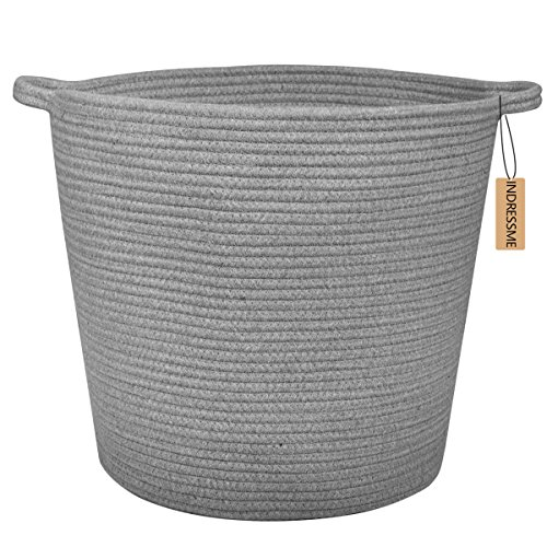 indressme extra large storage baskets cotton rope basket woven baby laundry basket with handle. Black Bedroom Furniture Sets. Home Design Ideas