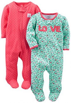 Simple Joys by Carter's Girls' 2-Pack Cotton Footed Sleep and Play, Love/Pink Dots,  ...