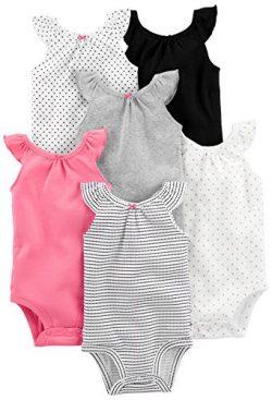 Simple Joys by Carter's Girls' 6-Pack Sleeveless Bodysuit, Black, White Pink Ruffle, ...
