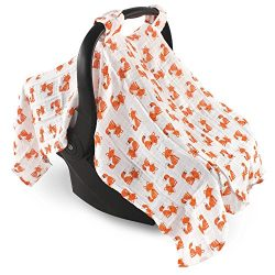 Hudson Baby Muslin Cotton Car Seat Canopy, Foxes, One Size