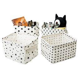 Zonyon Small Canvas Storage Bins, Mini Cute Foldable Fabric Baby Storage Basket,Star Nursery Con ...
