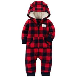 Carter's Baby Boys' One Piece Checker Print Fleece Jumpsuit 9 Months,9 Months,Red/Bl ...