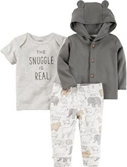 Carter's Baby 3 Piece The Snuggle is Real Tee, Hooded Cardigan, Animal Pants Set 3 Months