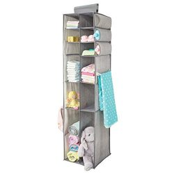 mDesign Fabric Hanging Baby Nursery Organizer for Clothing, Blankets, Diapers – 16 Compart ...