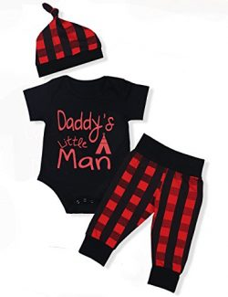 Oklady Baby Boys Girls Clothes Daddy's Little Man Print Bodysuit Outfits Clothes Set with  ...