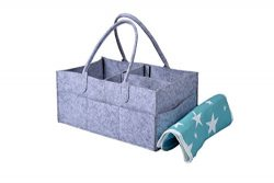 Baby Diaper Caddy Organizer and AntiSlip Waterproof Changing mat- Large Size Nursery Organizer F ...
