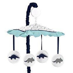 Sweet Jojo Designs Musical Baby Crib Mobile for Blue and Green Modern Dinosaur Girls or Boys Bed ...