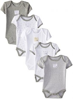 Burt's Bees Baby – Set of 5 Bee Essentials Short Sleeve Bodysuits, 100% Organic Cott ...