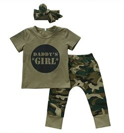 2 Styles Daddy's Baby Boy Girl Camouflage Short Sleeve T-shirt Tops+Green Long Pants Outfit Casu ...