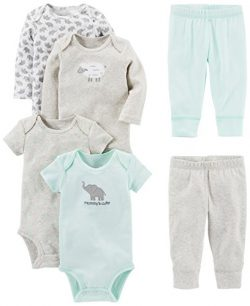 Simple Joys by Carter's Baby 6-Piece Little Character Set, Gray Lamb, 3-6 Months