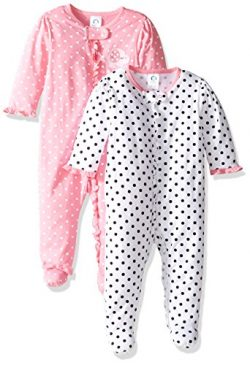 Gerber Baby Girls' 2 Pack Zip Front Sleep 'n Play,Elephants/Flowers,3-6 Months