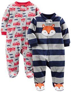 Simple Joys by Carter's Boys' 2-Pack Fleece Footed Sleep and Play, Navy Fox/Gray Fir ...