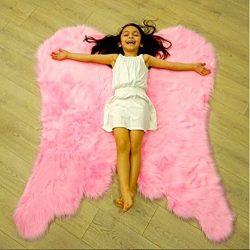 Super Soft Angel Wings Faux Fur Rug for Girls Room Faux Sheepskin Rug Gift Idea for Kid's  ...