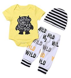 Younger star 3Pcs Newborn Baby Boys Clothes Letter Print Romper+ Casual Pants+Hat Outfits Set (1 ...