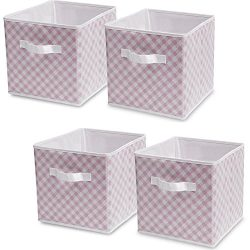 Delta Children 4-Pack Deluxe Water-Resistant Storage Cubes, Gingham/Pink