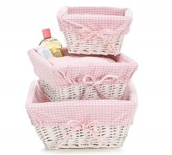 Set of 3 Baby Girl Nursery Storage Baskets – White Willow with Pink Cotton Gingham Fabric