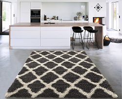 Sweet Home Stores Cozy Shag Collection Charcoal Moroccan Trellis Design Shag Rug Contemporary Li ...