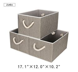 StorageWorks Polyester Storage Bin with Strong Cotton Rope Handle, Dark Khaki, Bamboo Style, Jum ...