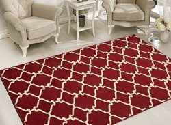 Sweet Home Stores Clifton Collection Red Moroccan Trellis Design (7'10 X 9'10) Area Rug