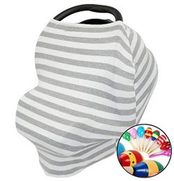 Premium Baby Car Seat Canopy Nursing Cover Multi-Use Stretchy 5 in 1 – Soft Breastfeeding  ...