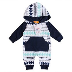 Emmababy Baby Boys Girls Jumpsuit Hoodie Romper Outfit Long Sleeve Creepers Bodysuit Clothes (0- ...