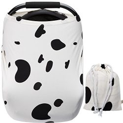 Baby Car Seat Covers Cute Spotty Dog Super Soft Stretchy and Breathable Neutral Nursing Covers f ...