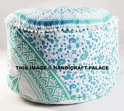 Indian Large Ombre Mandala Round Green Floor Meditation Footstools Ottoman Poufs 24″ By &# ...