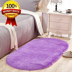 SANMU Soft Velvet Silk Nursery Rugs Oval Shaggy Carpet Bedroom Rugs for Living Room Mat and Girl ...