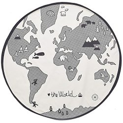 Exttlliy Adventure World Map Pattern Baby Crawling Mats Game Rug Floor Playmats Activity Round C ...