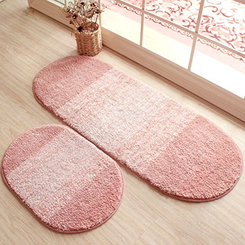 Homigoo Oval Shaped Rug Pink Mat For Kids Room Shaggy And