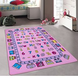 Kids / Baby Room / Daycare / Classroom / Playroom Girl's Area Rug. Alphabet. Letters. Numbers. E ...