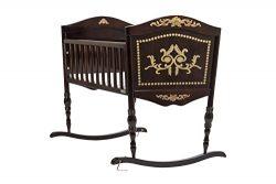 Green Frog, Old World Baby Cradle | Handcrafted Elegant Wood Baby Cradle | Premium Pine Construc ...