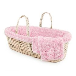 Tadpoles Twisted Fur Moses Basket and Bedding Set, Pink