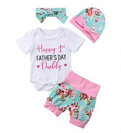 Baby Girls Pants Set, Newborn Infant Toddler Princess Letter Romper Arrow Heart Pants Hats Headb ...
