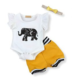 Infant Baby Boy Girl Elephant Romper and Short Pants with Headband Outfits Set (0-3 Months)