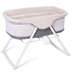 Costzon Baby Bassinet, Lightweight Rocking Crib with Detachable & Washable Mattress, Breatha ...