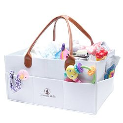 Extra Large Diaper Caddy by Delaware Holly: Felt Baby Diaper Storage Caddy with Leather Handles  ...