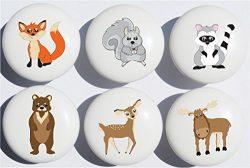 Woodland Forest Animal Drawer Knob Pulls, Ceramic Dresser Cabinet Knobs, Children's Nurser ...
