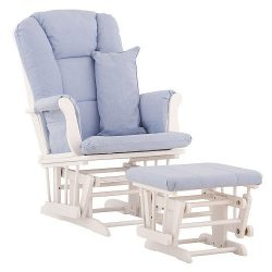 Stork Craft Custom Tuscany Glider and Ottoman – White/ Blue Fabric, Home Furniture, Living ...
