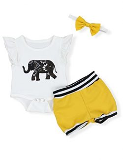 Infant Baby Boy Girl Elephant Romper and Short Pants with Headband Outfits Set (3-6 Months)