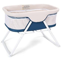 Costzon Baby Bassinet, Lightweight Rocking Crib with Detachable & Washable Mattress, Breatha ...