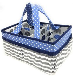 Bacati Elephants Nursery Fabric Storage Caddy with Handles, Blue/Grey
