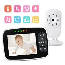 Video Baby Monitor with 3.5 inch LCD Screen Display Infant Night Vision Camera,Two Way Audio,Tem ...
