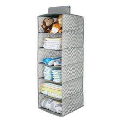 mDesign Chevron Fabric Baby Nursery Closet Organizer, for Toys, Baby/Kids Clothing, Blankets &#8 ...