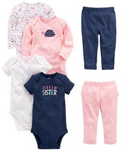 Simple Joys by Carter's Girls' 6-Piece Little Character Set, Pink/Navy Ruffle, Preemie