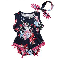 Cute Adorable Floral Romper Baby Girls Sleeveless Tassel Romper One-pieces +Headband Sunsuit Out ...