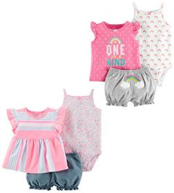 Carter's Baby Girls' 6-Piece Bodysuit Tee and Short Set, Peach Stripe/One of a Kind, ...