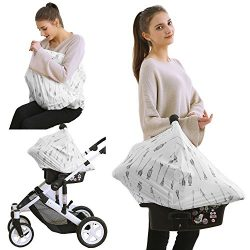 baby car seat covers stroller – sun protection canopy, nursing and breastfeeding covers, m ...