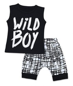 Baby Boys Clothes Set Short Sleeve Wild Boy T-Shirt Pants Outfit Summer Spring (12-18 Months, Bl ...